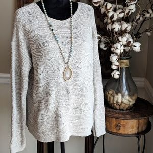 J. Jill Loose Knit Oatmeal Long Sleeve Sweater L